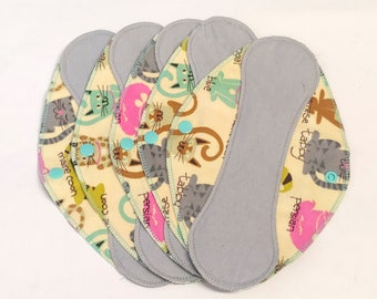 """Gray on Cats Reusable Pantyliner with wings 9.5""""- Zero Waste cloth liner reusable pad; light days; flannel liner; cotton liner"""