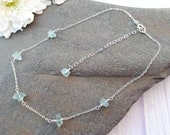 Raw aquamarine necklace in sterling silver. March birthstone gift. Mothers day gift. Aquamarine choker.
