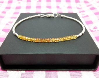Sapphire bracelet/ombre bracelet/yellow sapphire bracelet/bracelets for women/september birthstone/stacking bracelets/personalised bracelet.