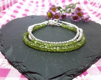 Peridot bracelet/16th anniversary/bracelets for women/stacking bracelet set/august birthstone/peridot jewelry/august birthday gift.