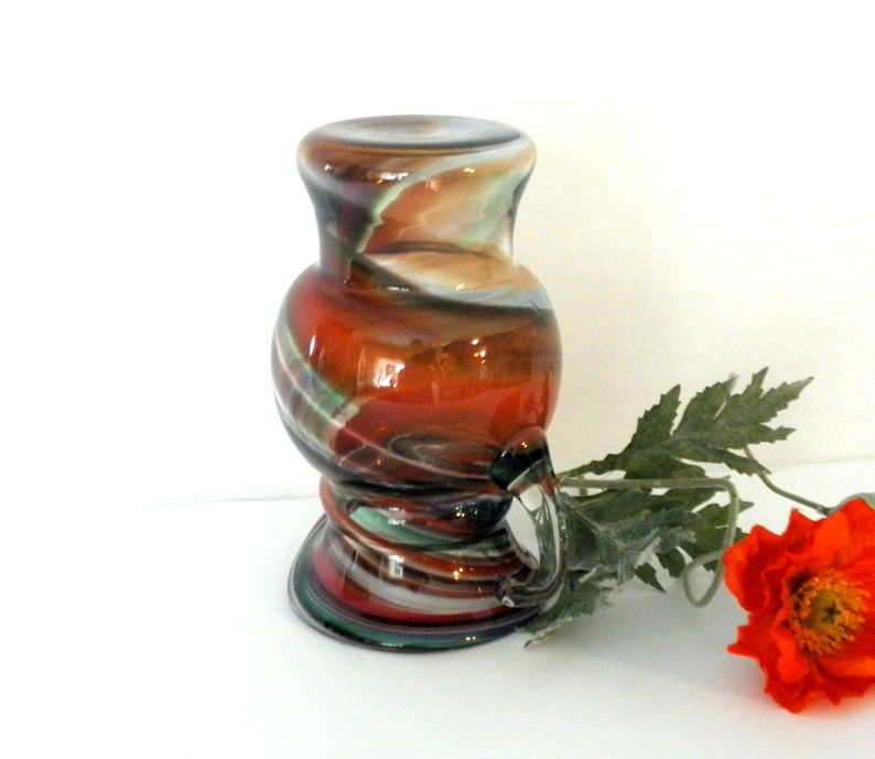 Vintage Vase Antique Pitcher Collectible Glass Art Mid Century Hand Blown Glass
