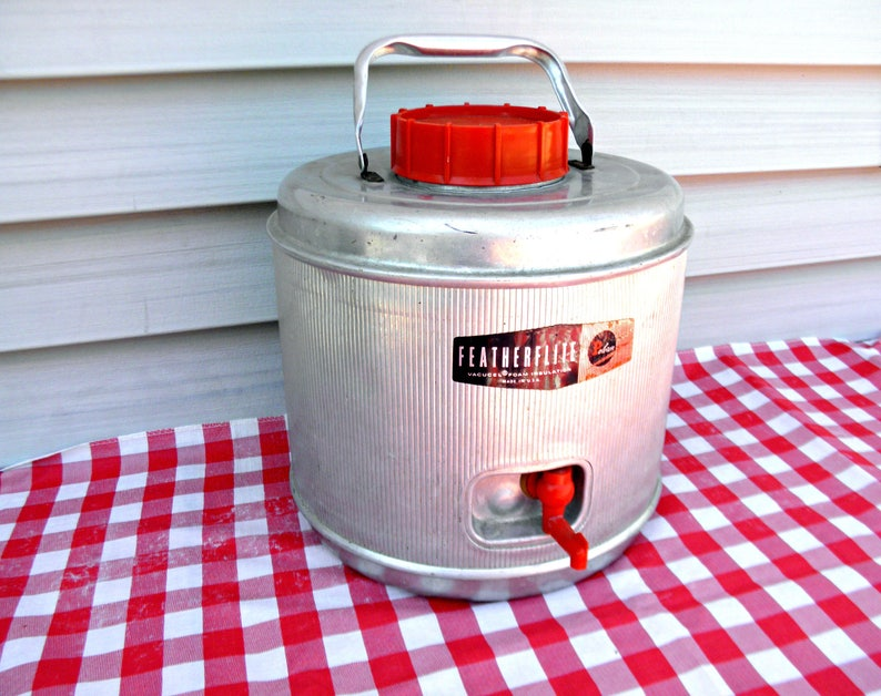 Vintage Mid Century Picnic Container Retro Cooler Old Insulated Drink Jug 1960/'s Water Cooler Poloran Featherflite Jug Antique Camping