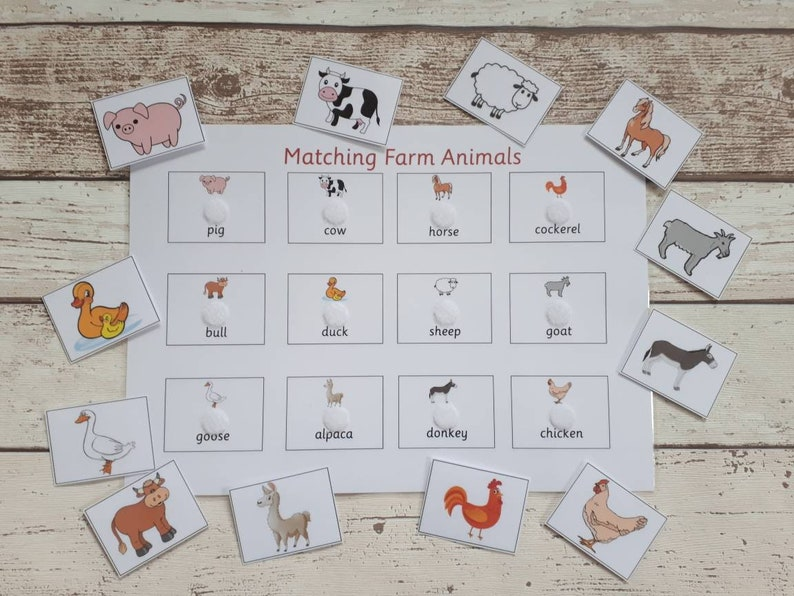 Farm animals matching game, game for toddlers, early years matching game,  farm animals activity, word recognition game, learn animal names