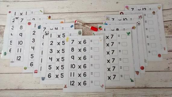 Mal Tischplatten mal Tabellen 1 bis 12 rechnen Mathe   Etsy
