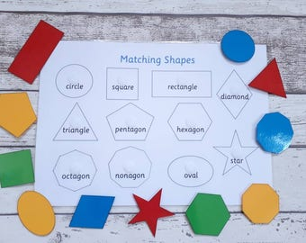 Shape matching learning resource, interactive educational game, home schooling, visual learner, children's development, learn shape names