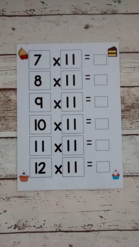 Mal Tischplatten mal Tabellen 1 bis 12 rechnen Mathe | Etsy