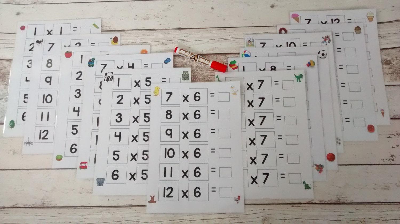 Mal Tischplatten mal Tabellen 1 bis 12 rechnen Mathe