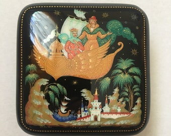 Collectible Piece Jewelry Box Papier Mache Russian Palekh  Lacquer Box  Morozko   #052 Hand Painted Gift for Her