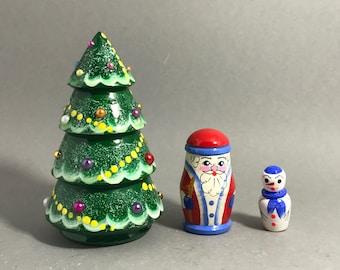 3 pcs russian nesting doll christmas tree 2 45 wooden matryoshka hand painted russian doll home decoration christmas gift