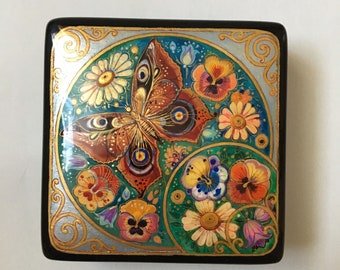 Russian Kholuy Lacquer  Hand Painted Box  Summer  #190 Papier-Mache Jewelry Box  Gift for Her Collectable Piece Christmas gift