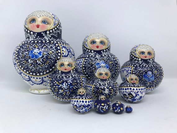 20PCS Penguins  Printed Russian Matryoshka Nesting Dolls for Kids