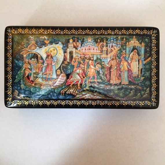 Papier Mache Gift for Her Mother/'s gift Russian Kholuy Samovar Lacquer Box Sun Bird  Hand Painted Exclusive box Jewelry Box