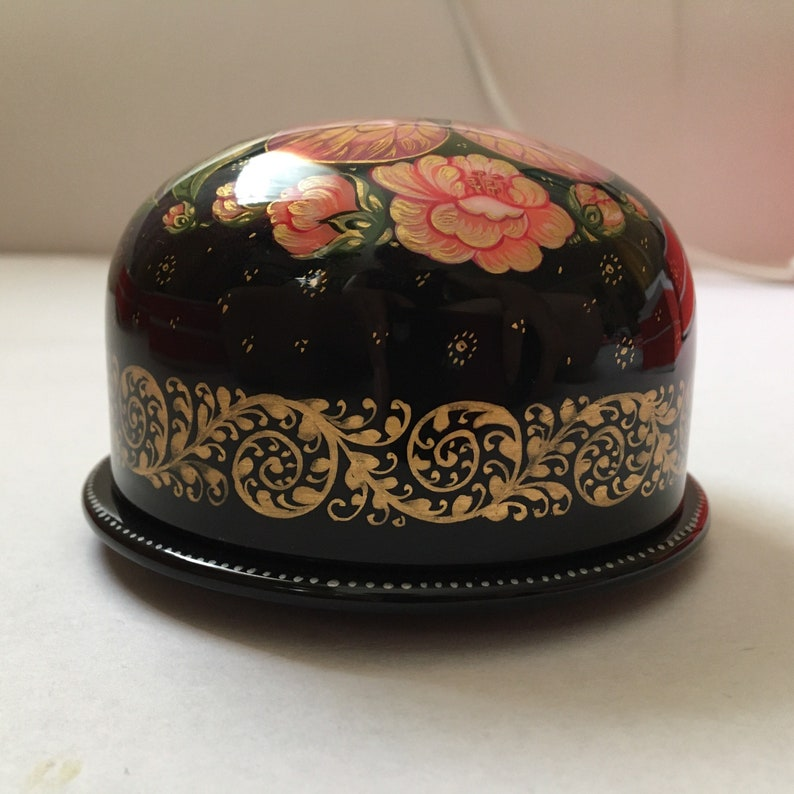 Collectible Piece Gift for Her Russian Kholuy  Lacquer Box  Flowers Of Sakura  #072 Hand Painted Jewelry Box Mache Papier