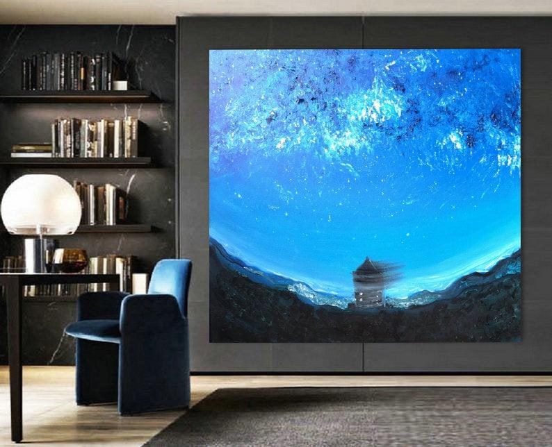 Glow in the dark canvas Navy turquoise white impasto wall art image 0