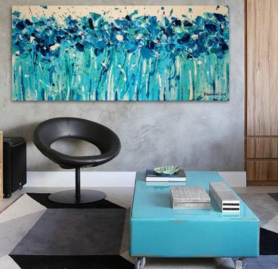 Huge wall art Diamond painting Navy turquoise white impasto wall art Custom  flower bedroom Long flower impasto Mint Extra long art