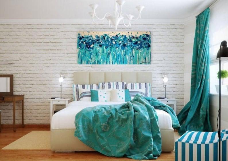 Navy turquoise white impasto wall art Narrow horizontal wall art Custom  flower bedroom impasto wall art Navy flower impasto Teal flower