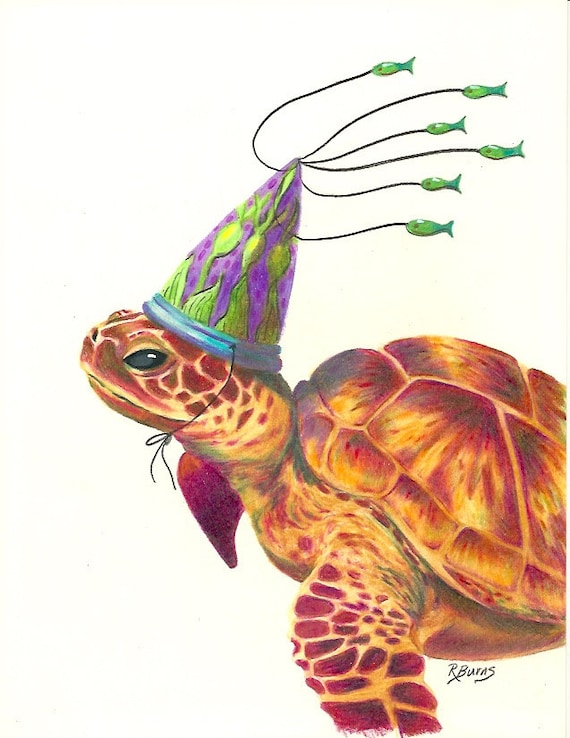 Sea Turtle Green With Sea Kelp Hat Party Birthday Print On Etsy