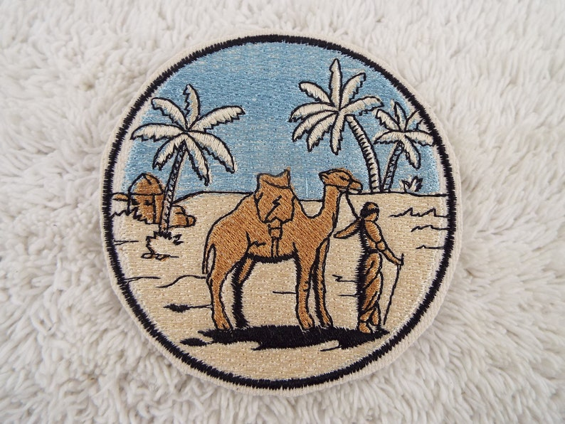 Desert CAMEL Palm Trees SCENERY Embroidered Iron-on Patch