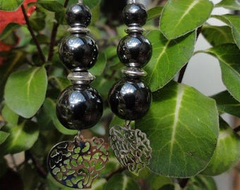 Madez - Stone earrings 925 sterling silver and hematite