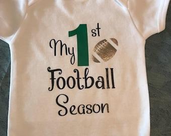 1st football season onesie, football onesie, baby onesie, personalized baby onesie, oneise for her, girl onesie, boy onesie