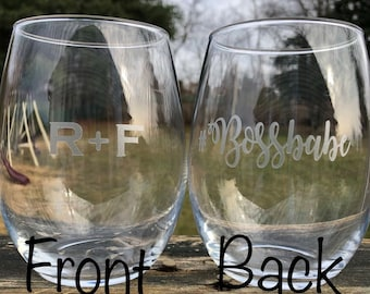 Rodan + Fields inspired frosted vinyl wine glass, boss babe gifts, gifts for her, personalized boss gift, R F bossbabe, #bossbabe