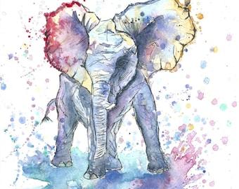 Baby Elephant Watercolour Art Print
