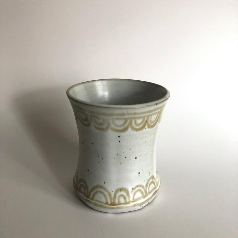 White Ceramic Vase with Beige Scallop Patterns  Handmade Vase  Ceramic Vase  Flower Vase