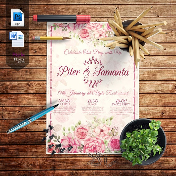 Wedding Floral Flyer Popular Flyer Wedding Invitation Instant Download Invitation Card Design Flyer A4 And Us Letter