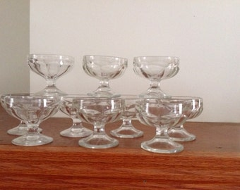 Vintage Glass Sherbert/Ice Cream/Dessert Cups. Glass Dessert Cups