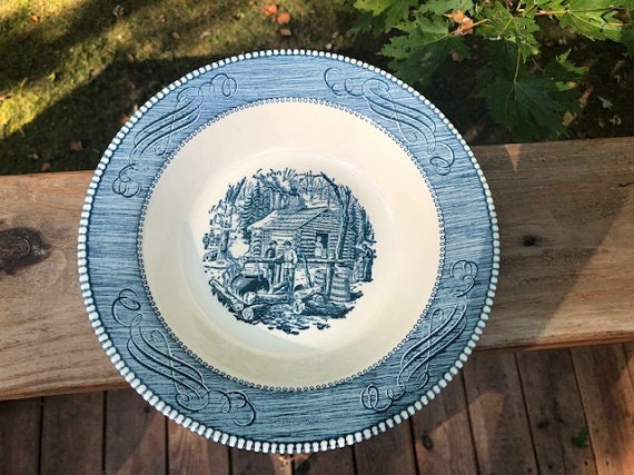 """VINTAGE BLUE AND WHITE CURRIER AND IVES ROUND SERVING BOWL 9/"""" Maple Sugaring"""