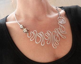 Unusual necklace Silver wrap necklace Urban necklace Modern necklace Original necklace Unique Wire necklace Abstract necklace