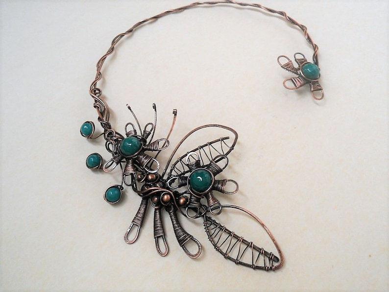 Flower necklace Green open collar necklace Statement copper wire necklace