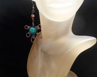 Copper dangle earrings Flower earrings Romantic earrings Copper Wire earrings Copper jewelry handmade Unique earrings Artisan earrings