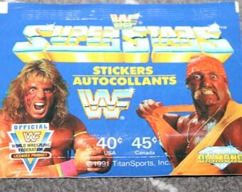 Hulk Hogan VS Ultimate Warrior WWF Superstars 1991 Wrestling Stickers from Italy WWE Vintage 1990s Wrestlemania