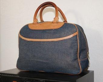 e Bettye Muller Denim Jean and Leather Handbag Vtg 1990s Italy Purse