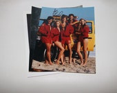 Erika Eleniak Autograph Baywatch Group Photo Cast Movie TV Show Red Bikini Lifeguard Uniform 1990s Autograph Picture