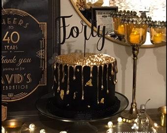 Black FORTY Cake Topper