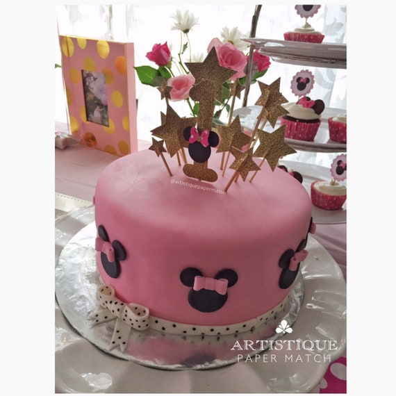 Awesome Golden Stars Cake Topper Number 1 Minnie Mouse Birthday Etsy Funny Birthday Cards Online Inifodamsfinfo