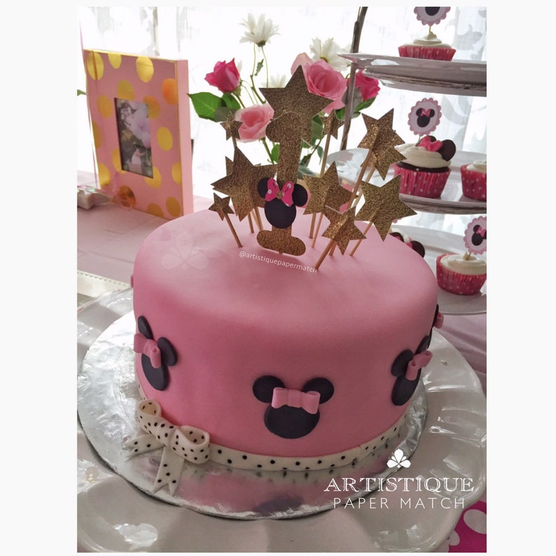 10 Stars And 1 Minnie Mouse Cake Topper
