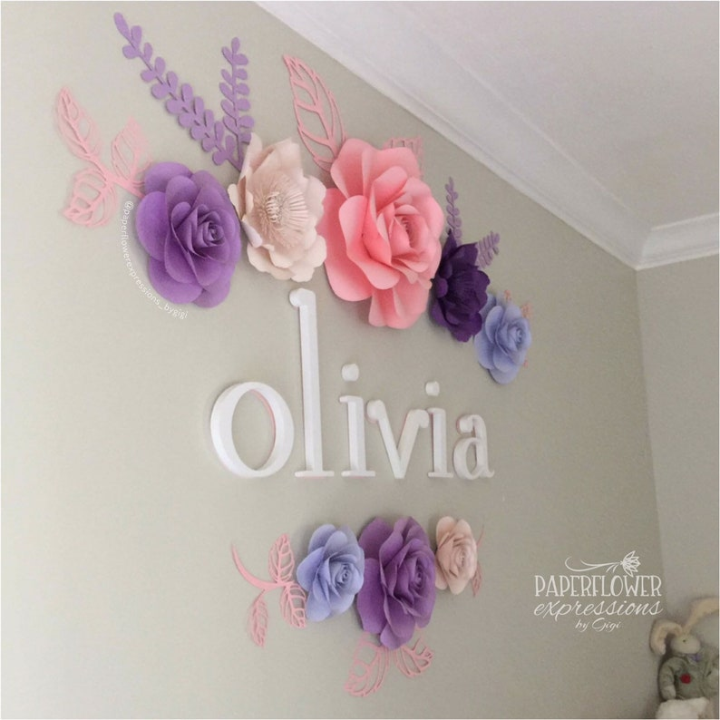 Purple shades Paper Flower Bac Nursery Wall Decor Pink and purple Baby Shower Backdrop 8 pc Pink and Purple Shades Large Paper Flowers