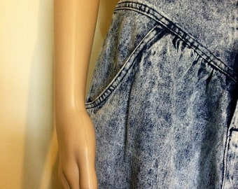 1980s Stonewashed Jean Midi Skirt by Kayo of California