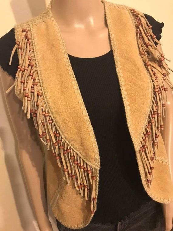 70s suede vest with fringe medium