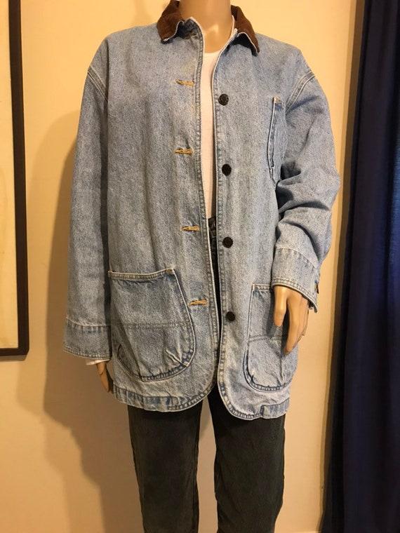 Vintage denim jacket chore coat with brown denim c