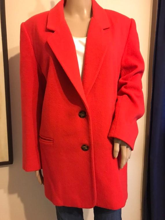 Vintage Eddie Bauer oversized bright red wool blaz