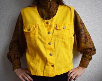 Vintage Yellow Denim Vest Jeans Jacket Vintage Denim Sleeveless Vest Waistcoat Western Vest Size L Hippie Hipster Vest
