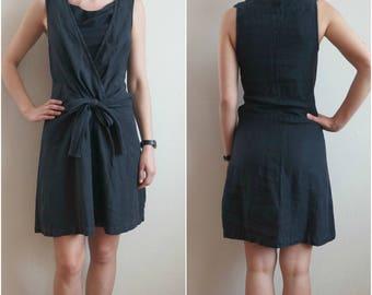 Vintage Black Linen Dress, Pale Black Linen Sleeveless Dress, Black Summer Mini Dress, Size S/M, Linen clothing, Womens linen dress