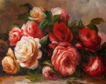 Rose Paintings on Canvas, Rose Wall Art, Discarded Roses-Pierre-Auguste Renoir Painting Museum Quality Handmade Recreation