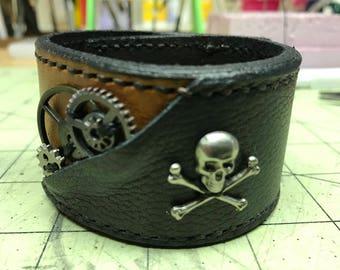 Pirate SteamPunk leather Cuff Handmade