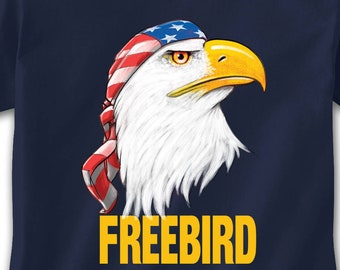 ef466958 Free Bird T-Shirt, Funny Freebird American Bald Eagle Lynyrd Skynyrd Biker  Flag Bandana Badass Freedom Patriotic Southern Rock Tough Novelty