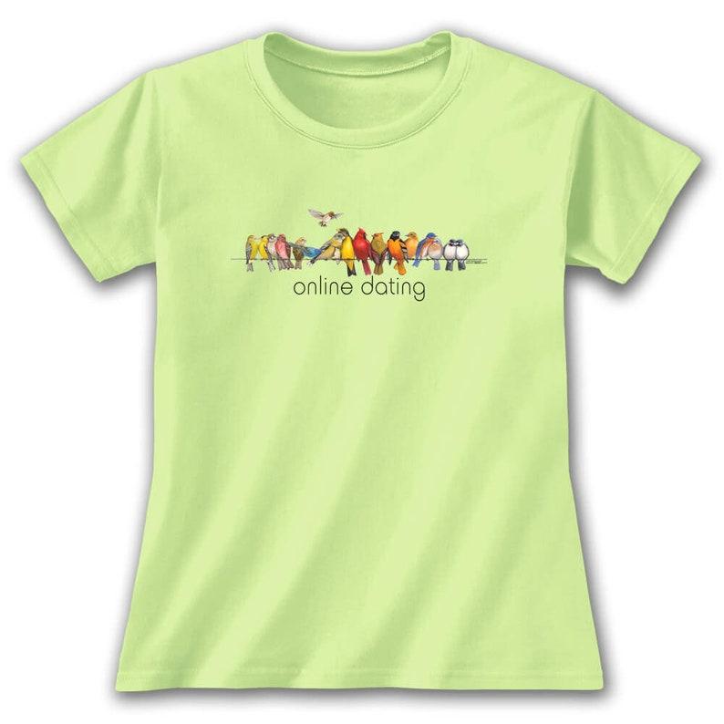 353e3ca4 Online Dating Female Birds T-Shirt, Womens Bird Lover Funny Internet Dating  Pun Bird Watching Cardinal Hummingbird Bluebird Blue Jay Nature